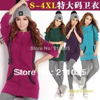 women's Autumn winter fleece sweatshirt long plus size with a hood plush sweatshirt fleece cardigan hoodies,R93,DY,F539,935#