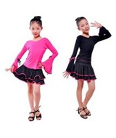 Professional children's dance costumes,princess Latin dance,girls practise long-sleeve cloths(rose,black)