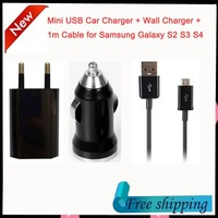 Mini USB Car Charger + EU Home Wall Charger + 1m Data Sync Charge Cable for Samsung Galaxy S3 S4 HTC Sony Motorola free shipping