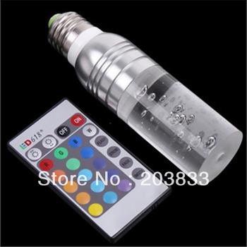 E27 RGB LED Cyclinder Color Change Crystal Light Bulb + 24Keys Remote Control
