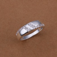 Wholesale Free shipping Fashion 925 Sterling Silver Jewelry,  Setting Zircon L Ring Wedding Silver Plated Ring R235