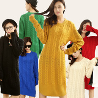 2014 autumn Women Super long Sweather, o neck Long twisted Kintted Sweater,long sleeve, Loose Pullovers ONLY ONE