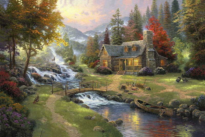 printed thomas kinkade landscape oil painting prints on canvas wall art picture for living room home decorations 40x50cm --352(China (Mainland))