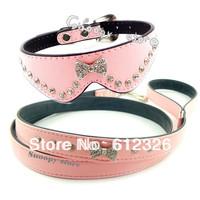 Free Shipping 2013 New Pink Leather Bowknot Rhinestone Crystal Jeweled Pet Cat Dog Collar + Leash Set