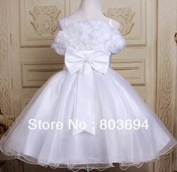 retail 2013 new design  white Wedding dress ,party baby girls'  dress  rwith bow  8818
