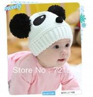 2013 NEW 2PCS/LOT Children cotton Wool Cap Hat Headgear Pandas/Baby Toddler Panda Knit Crochet Children Girl/boy Beanies Caps