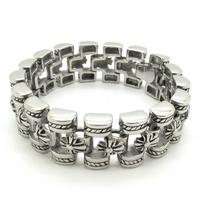 Bracelet For Mens Gothic 316L Stainless Steel Hand Chan, Vintage Huge Totem Fleur De Lis  Wristband Bracelet Free Shipping