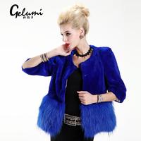 Meters 2013 winter fox fur female short design three quarter sleeve o-neck ladies fur coat