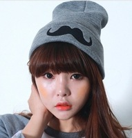 2013 Autumn and winter free shipping vintage fashion mustache hat Wool knitted fashion cap women's fashion accessories