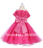 retail 2014 new design   Wedding dress ,party baby girls'  dress ,hot pink dress with bow  8821
