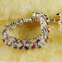 Wholesale Emerald Cut Garnet Amethyst  Morganite White Topaz 925 Silver Bracelet  Love Style Gift
