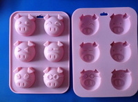 1PCS Holes Little Pig silicone mold soap fondant candle molds sugar craft tools chocolate moluds silicone molds for cakes