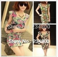 New !! 2014 Summer Women's Mini Dress Crew Neck  Sleeveless Causal Tunic Sundress