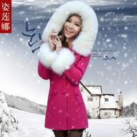 2013 autumn and winter slim plus size wool fur collar wool coat medium-long woolen outerwear female