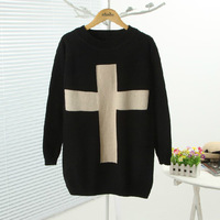 retail Autumn and winter in Europe and America women sweater loose cross straight round neck long-sleeved ladies sweater