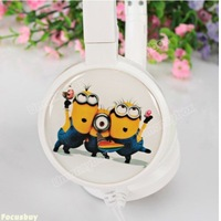 Popular Despicable Me Cartoon Figure 3 Guys Pattern Headphone with Mirophone (White)