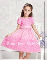 Wholesale, rose party dress girl elegant dresses, new design  pink dress 5pcs/lot  free shipping 8859