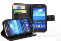 Color Stand Leather Cover for Samsung galaxy ace 3 S 7270 PU Wallet Case with two ID Card Slot