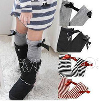 Free Shipping 4 Pairs New Kids Toddlers Girls Bowknot Soft Knee High Socks 4 Colour Choose Age 2-8Y