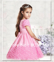 retail girl pink rose dress with bow,girl dress,girl wear free shipping 0327