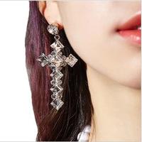 thanksgiving day gift women cross earrings super flash vintage hollywood Korea crystal glass crystal earring