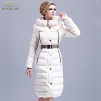 2013 Fashion royalcat white slim fashion waist long design lengthen thickening women's lady's long down coat plus size