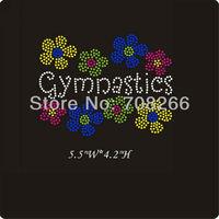 FREE shipping 35pcs / lot Gymnastics Bling Iron On Rhinestone Transfer For T Shirts
