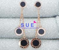 Shake charm rose gold plated black epoxy drop earring women jewelry titanium steel fashion jewelry Korean gift 1:1 High Quality