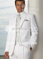 NEW HOT SALE White Groom Tuxedos Men's Wedding Dress suits Prom Clothing (Jacket+pants+tie+vest) A 3175