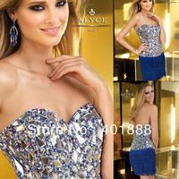 Royal Blue Sweetheart Heavy Beaded Bling Bling Mature Short Cocktail Dress