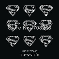 Free shipping 40pcs/lot Hot Fix Rhinestone Motif Small Size Superman Sign for bows and caps