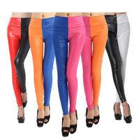 New 2 Tone Black Leather Look Fashion Skinny Pants Leggings        5 colors