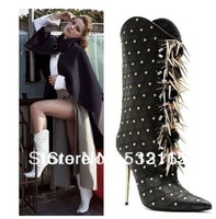 Free shipping New 2013  Women Motorcycle  Knee High Rivets Boot Pointed Toe  Winter Thigh High Heel Boots For Women