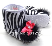 Free shipping Wholesale 2013 Fashion Tasteful Zebra Warm Fur Winter BB Boots/Prewalkers/Infant Shoes/Baby Girl Shoes