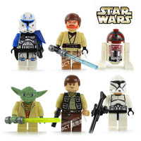 Star Wars 6pcs Ninja Mini Action Figures toys Obi Wan Kenobi Han Solo R4 P17 Yoda clone trooper captain Rex Building Blocks Sets