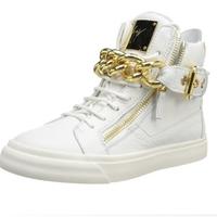 golden chain GZ sneaker 2014 fashion high top women sneakers brand white black GZ man sneaker