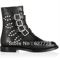 New Style Ankle Boots,Lace Up Fashion Rivet Women Boots,Cow Leather Top Quality Short Boots