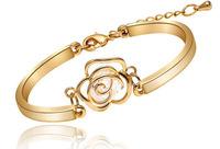 18K gold plated luxury bracelet inlay CZ jewelry camellia Flower gold filled bracelets for women trendy gift