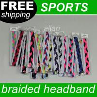 100pcs Woman & Girl Soft Nylon Braided Mini Sports Headbands Silicone headband keep the Elasticit band