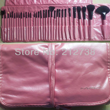 free shipping Pro PINK Makeup Cosmetic Brush Kit 32 pcs Set + Soft Case 32 Pcs Makeup Brush Cosmetic set Kit color: pink