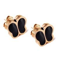 butterfly stud earring blace Epoxy 14K Rose Gold Titanium steel jewelry wholesale gift for women
