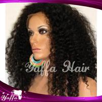 DHL Free Shipping Cheap Long Afro Kinky Curly Brazilian Virgin150/180 density Glueless Full Lace Wigs heavy density wigs