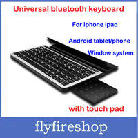 Free Shipping Universal Multifunctional Bluetooth Wireless Keyboard With Touchpad Panel and Stand for Apple Android Windows PC