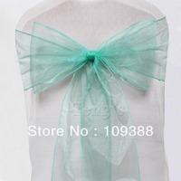 100pcs Mint Green Wedding Party Organza Sheer Chair Sashes