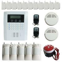 101 zones GSM PSTN security home alarm system with  pir sensor +2 smoke detector