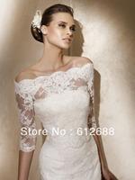 Low Price Custom Made 2015 New Style Fashional Bridal Wraps Lace 1/2 Long Sleeves Wedding Jacket Cape Wrap