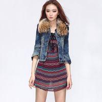 Classic Water-washed Elastic Denim Jacket for Women, Luxurious Fur Collar Short Design Denim Jacket