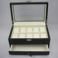 Luxury 10-slot jewelry & watch display case exhibition box present box with transparent lid and extra drawer Black A059