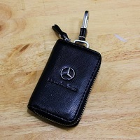 Black 360 Degree Rotate Mercedes-Benz Car Logo Leather Car Key Case Holder Cover Bag Keychain