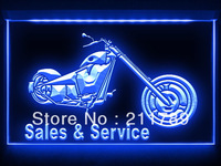 AC038 B Motocylce Sales & Service Shop LED Light Sign